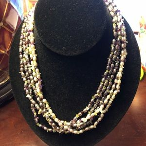 Jewelry - Genuine seed Pearls and stone Beaded necklace
